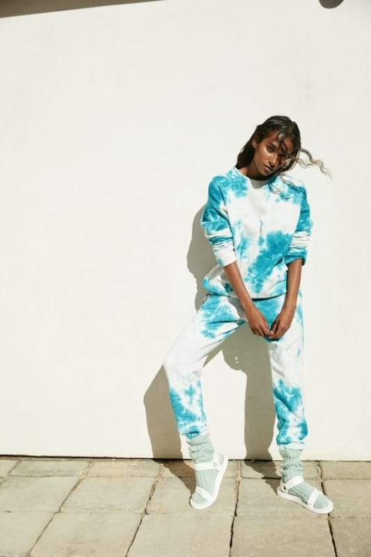 look com conjunto de moletom de tie dye azul