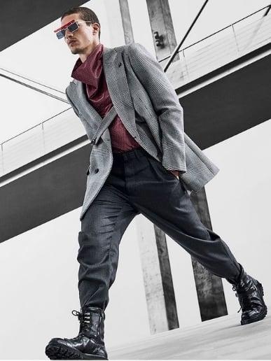 look masculino com marca Armani