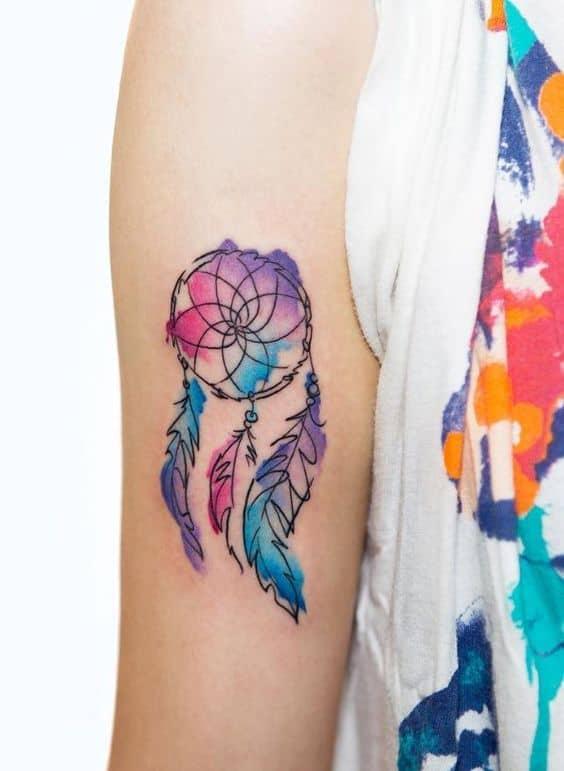 tatuagem aquarela de filtro dos sonhos