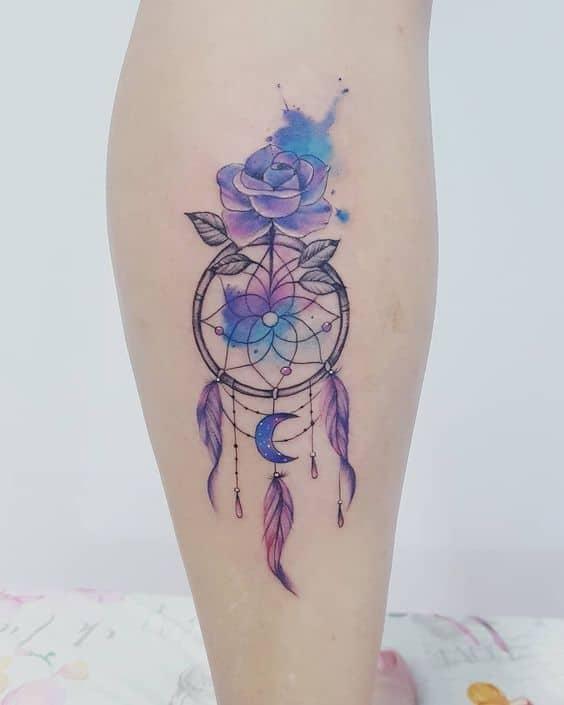 tatuagem colorida de filtro do sonhos