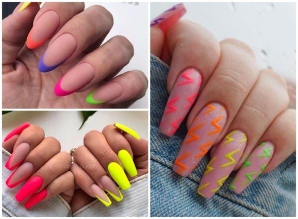 unhas coloridas neon