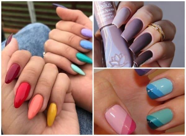 unhas coloridas cada unha de uma cor