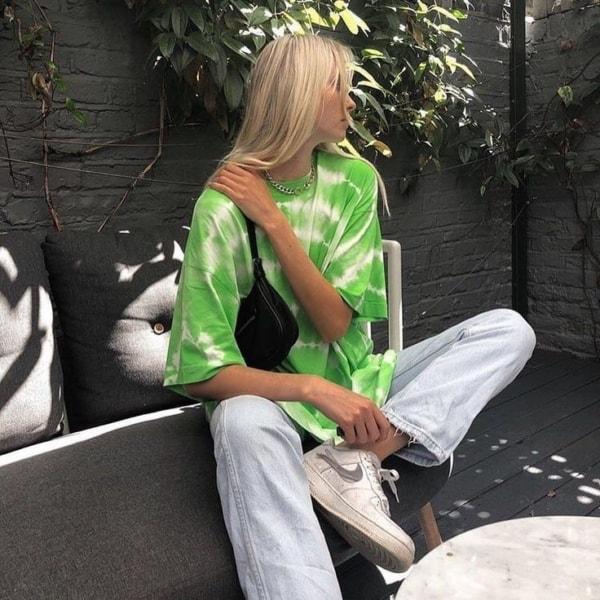 look com camiseta verde estampada 12