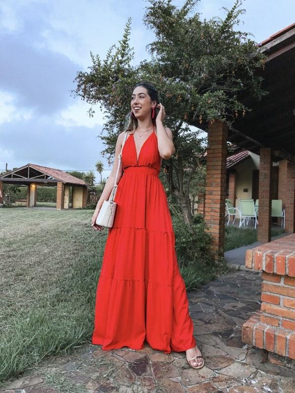 look com vestido longo frente unica