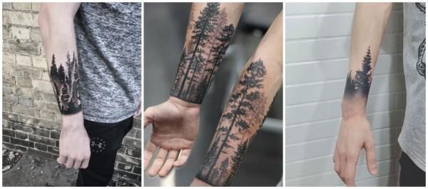 ideias de tatuagem floresta negra no braco