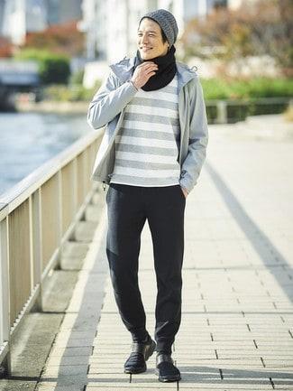 look de inverno masculino com corta vento cinza