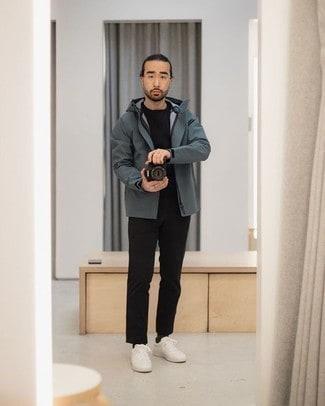 look com jaqueta masculina corta vento cinza