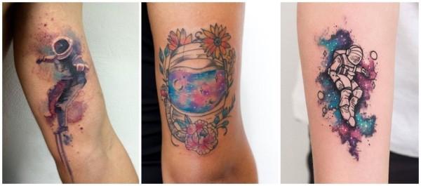 ideias de tatuagem astronauta aquarela