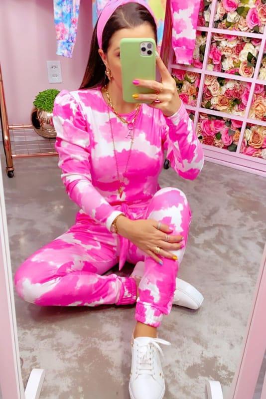 look com conjunto de moletom tie dye pink
