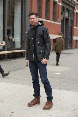 look de inverno masculino com corta vento preta