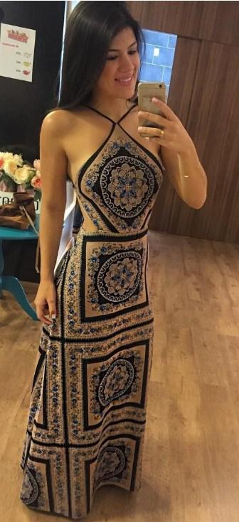 vestido longo estampado frente unica