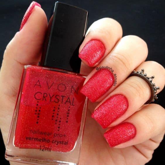 esmalte vermelho com glitter Avon