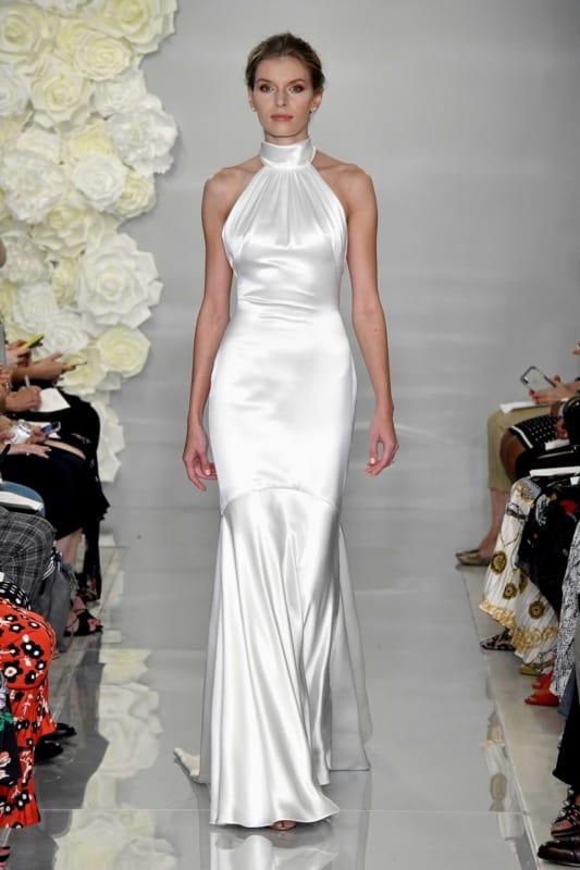 vestido de noiva frente unica com gola alta