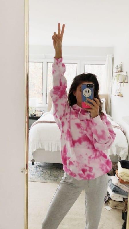 look com moletom tie dye rosa