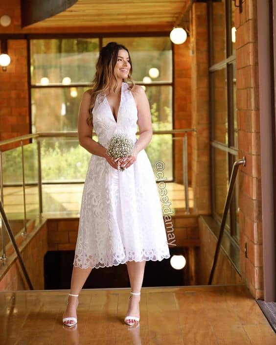 vestido de noiva midi para casamento civil