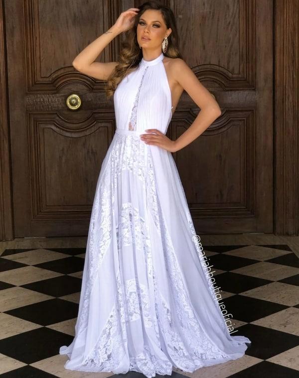 vestido de noiva branco frente unica