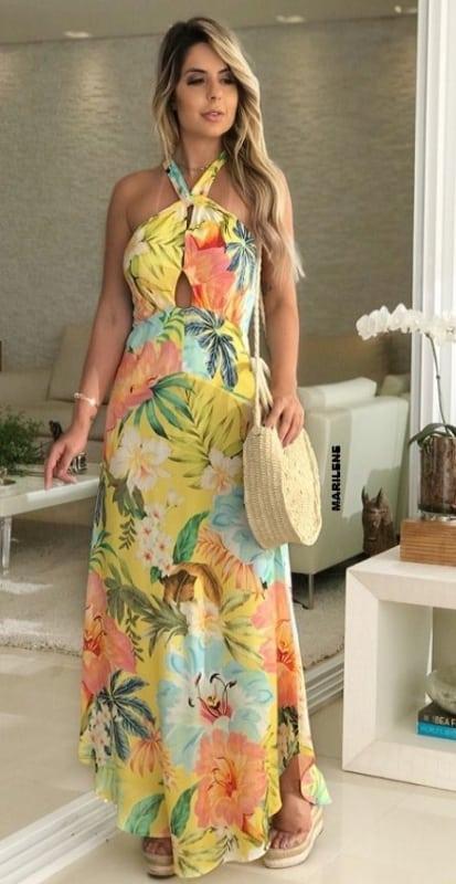 look com vestido longo floral frente unica