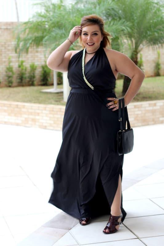 look festa plus size com vestido frente unica preto