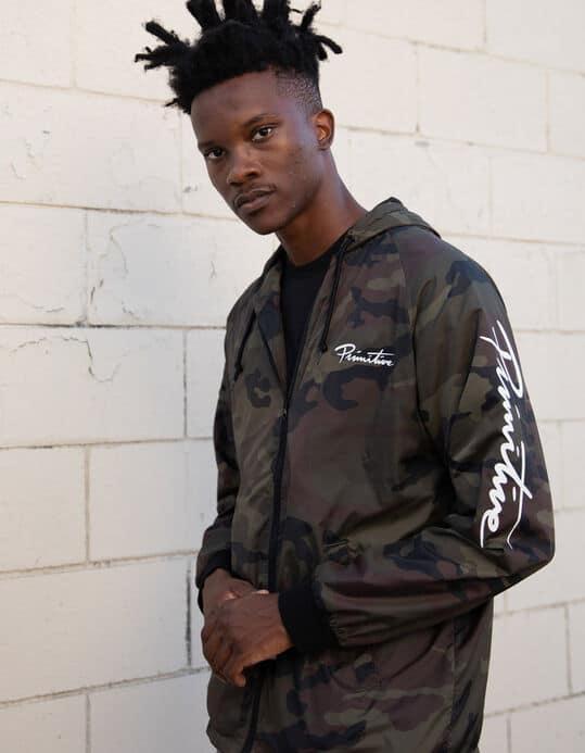 jaqueta corta vento masculina camuflada