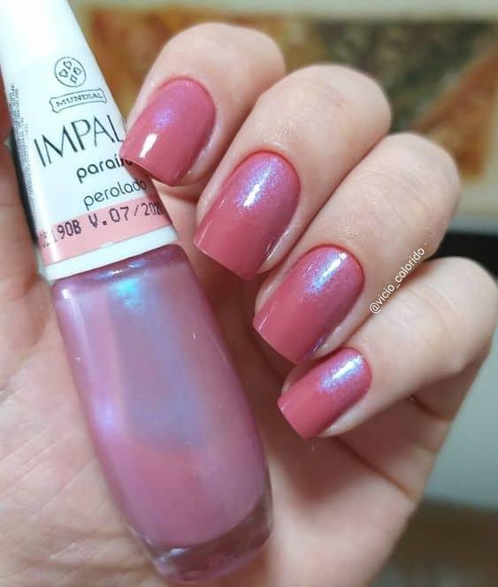 esmalte rosa perolado da Impala