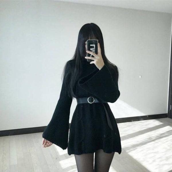 look e girl com vestido preto