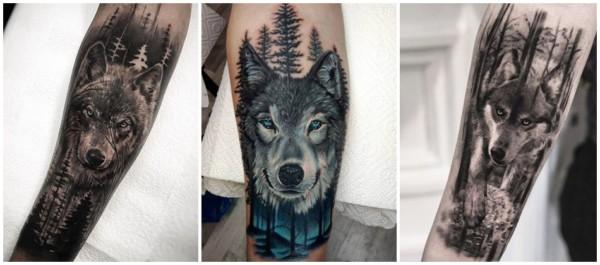 ideias de tatuagem floresta negra com lobo