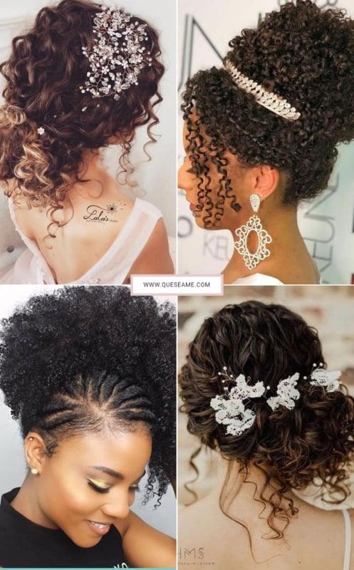 penteado para cabelo crespo casamento 42