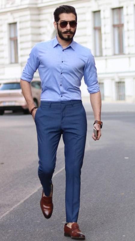 traje esporte fino masculino com camisa azul