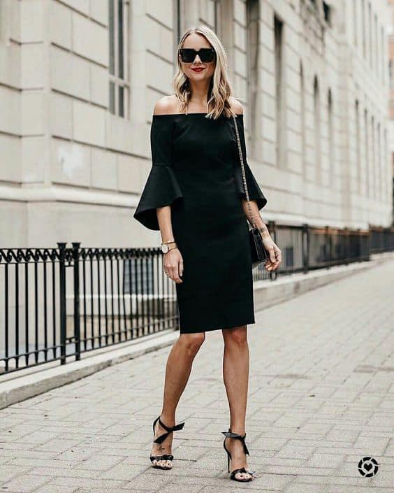 traje esporte fino feminino com vestido preto