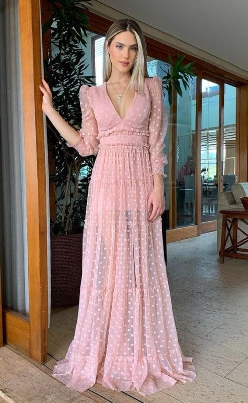 look social feminino com vestido rosa