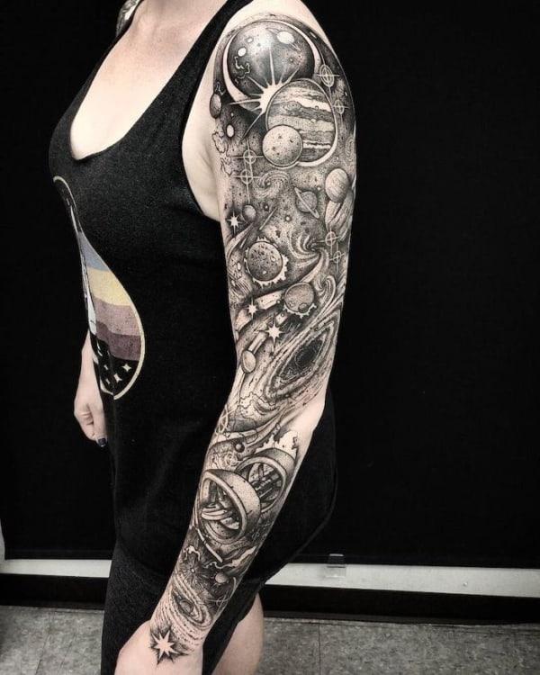 tatuagem Universo em braco fechado PB