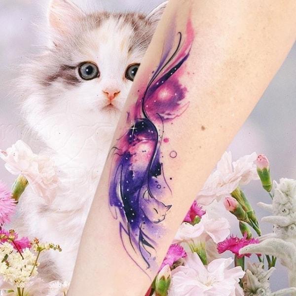 tatuagem Universo gato